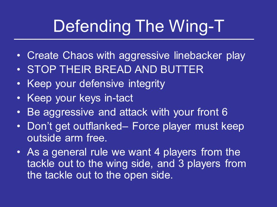 Defending The Wing-T Create Chaos with aggressive linebacker play