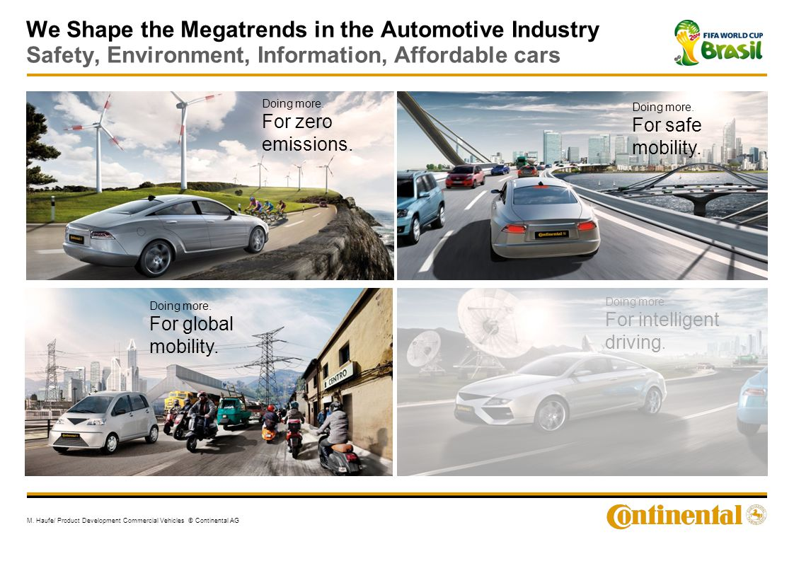 We Shape the Megatrends in the Automotive Industry Safety, Environment, Information, Affordable cars