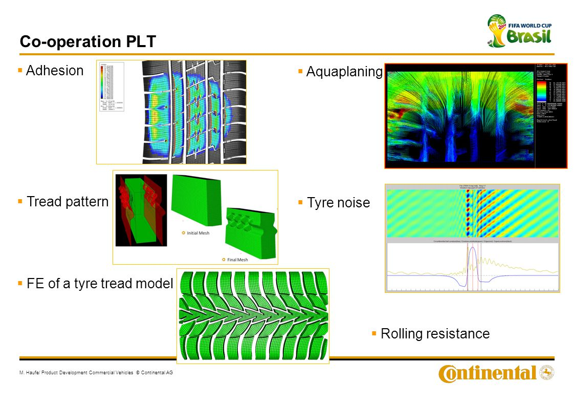 Co-operation PLT Adhesion Aquaplaning Tread pattern Tyre noise