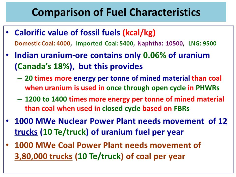 Comparison of Fuel Characteristics