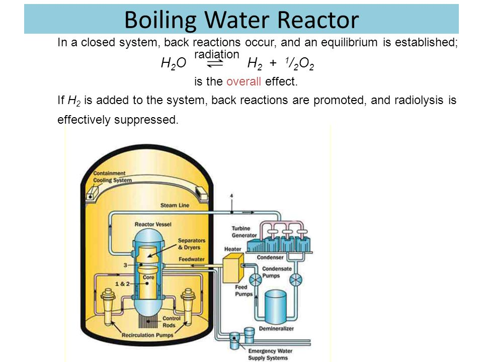 Boiling Water Reactor In a closed system, back reactions occur, and an equilibrium is established; H2O H2 + 1/2O2.