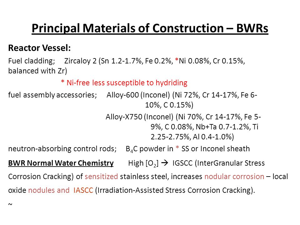 Principal Materials of Construction – BWRs