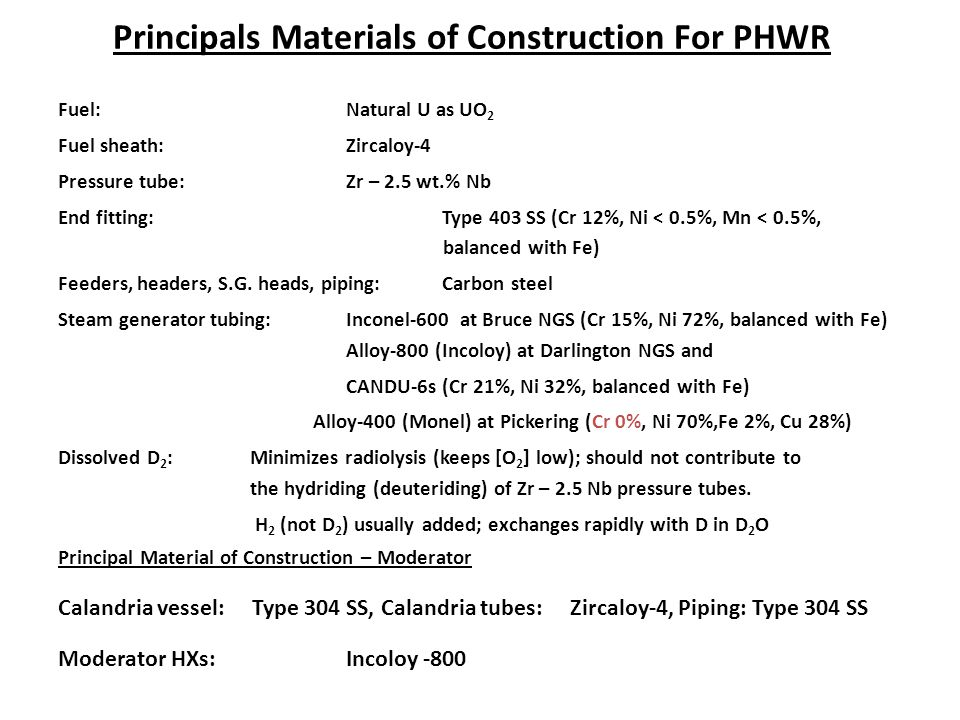 Principals Materials of Construction For PHWR