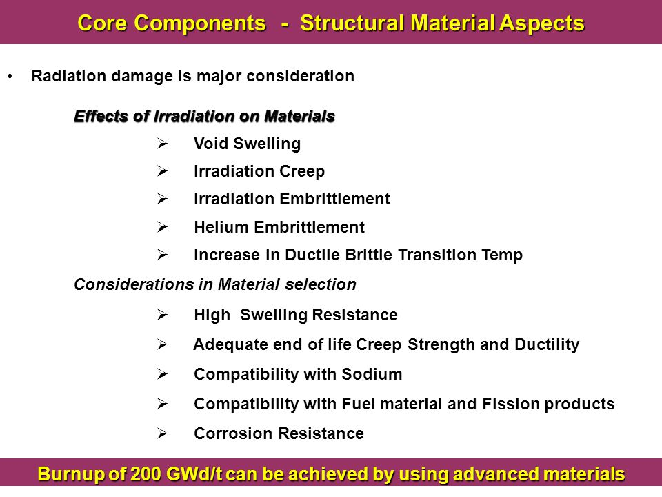 Core Components - Structural Material Aspects