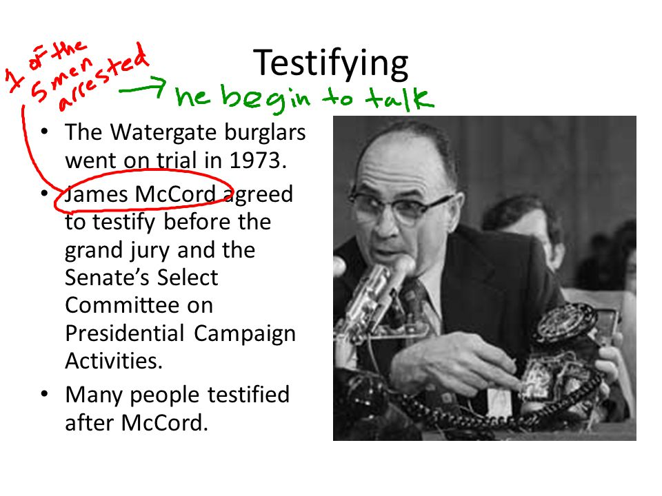 Testifying The Watergate burglars went on trial in 1973.