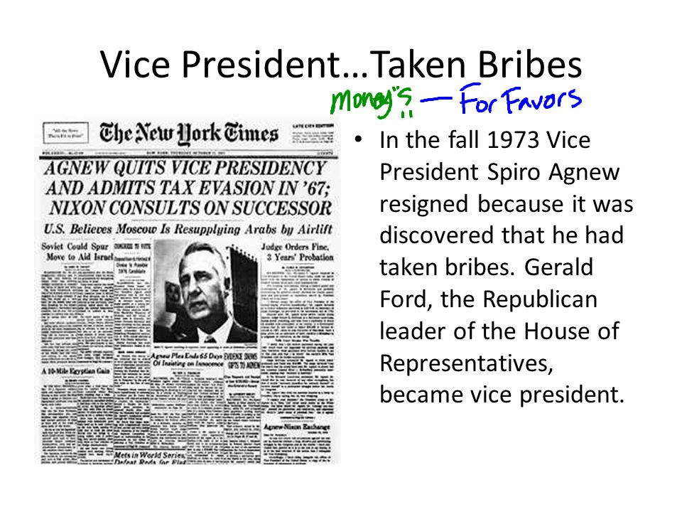 Vice President…Taken Bribes