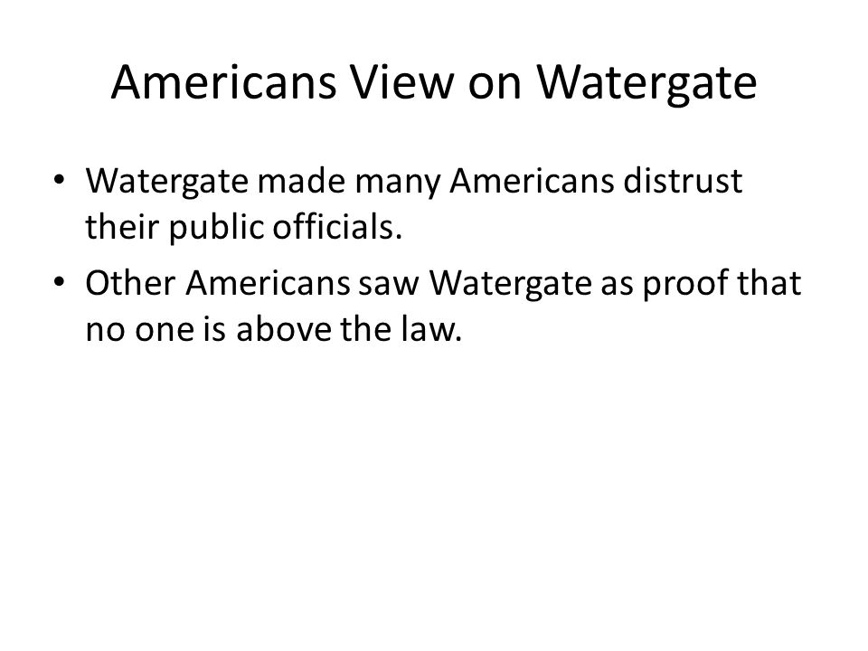 Americans View on Watergate