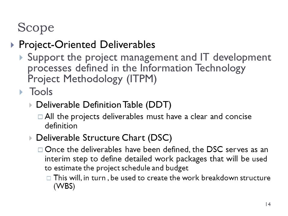 Scope Project-Oriented Deliverables
