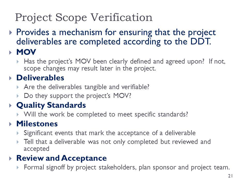 Project Scope Verification
