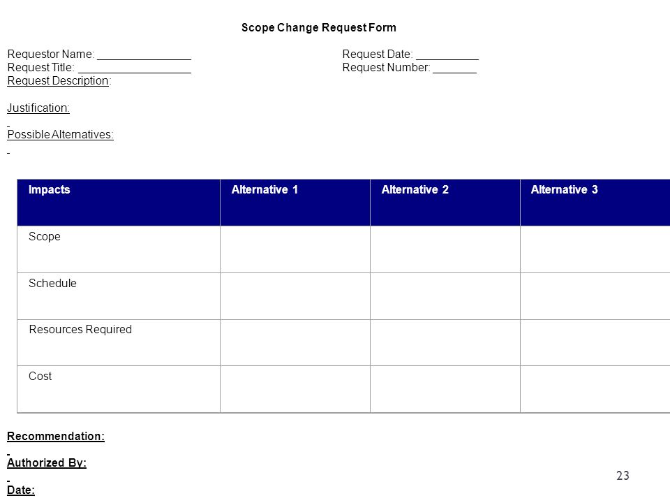 Scope Change Request Form