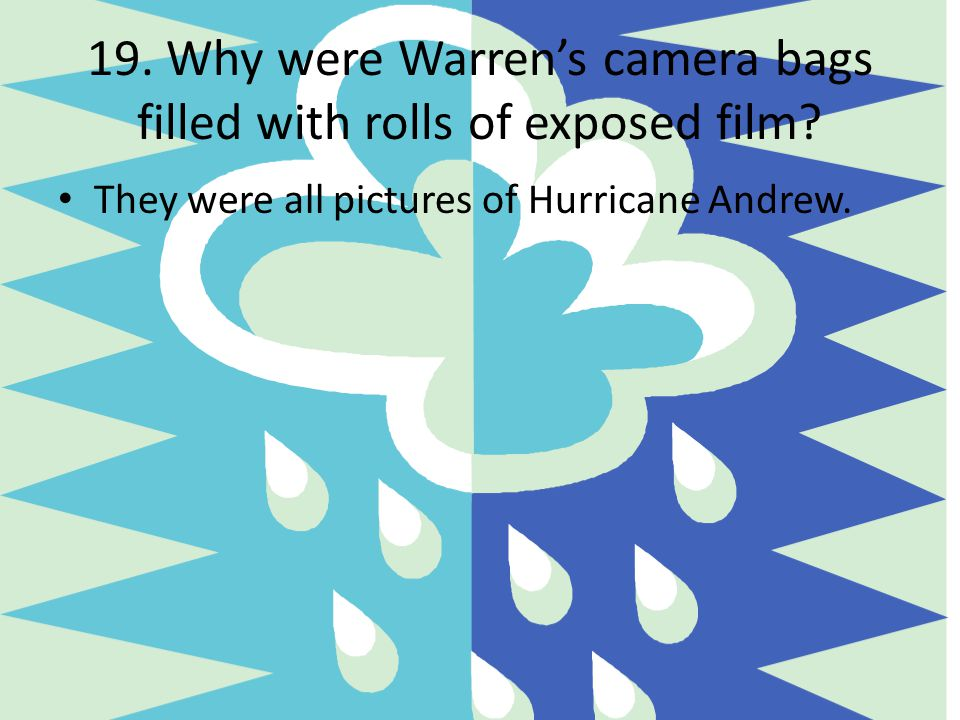 19. Why were Warren's camera bags filled with rolls of exposed film