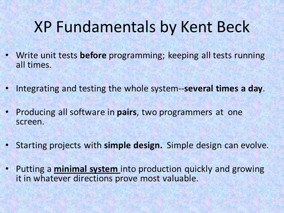 XP Fundamentals by Kent Beck