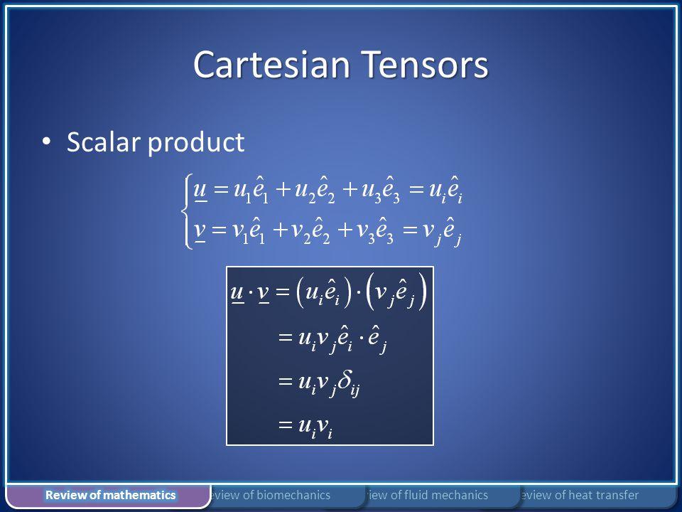 Cartesian Tensors Scalar product Review of mathematics
