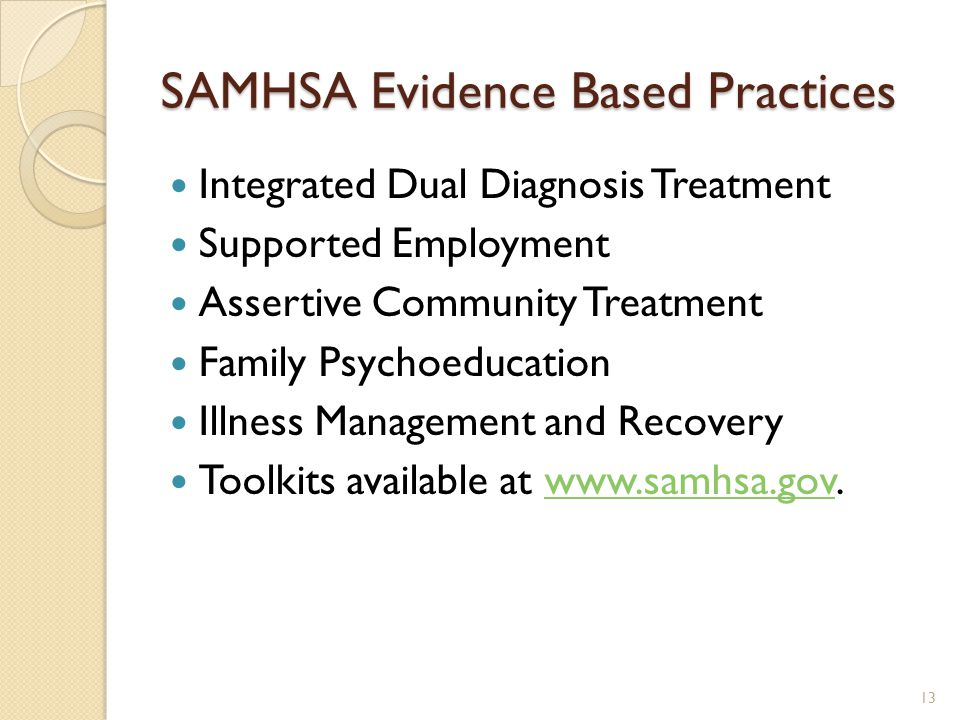 SAMHSA Evidence Based Practices