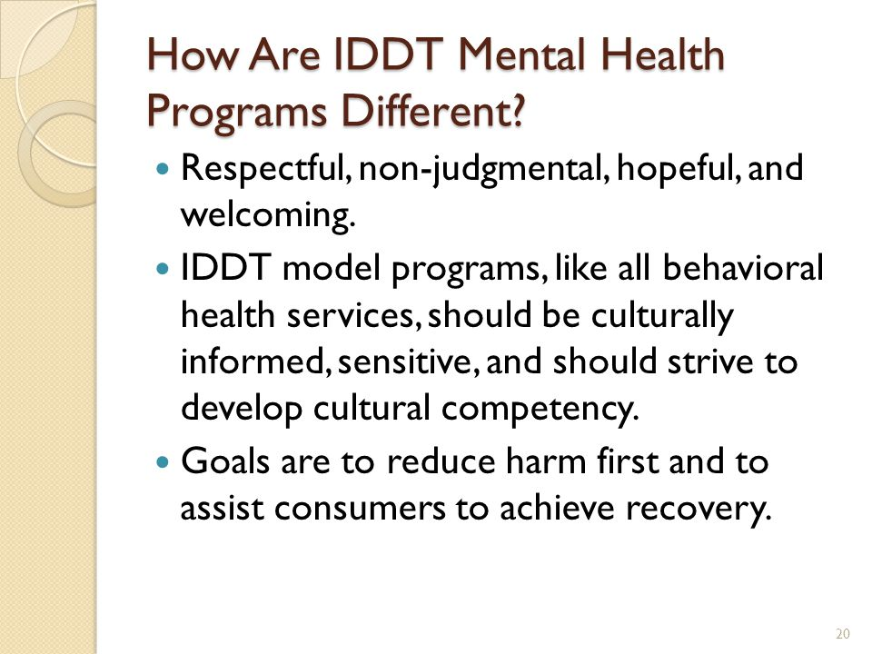 How Are IDDT Mental Health Programs Different