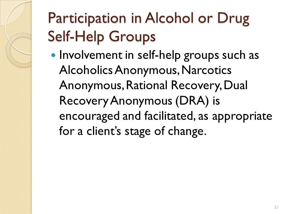 Participation in Alcohol or Drug Self-Help Groups