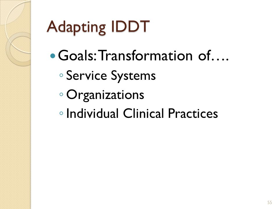 Adapting IDDT Goals: Transformation of…. Service Systems Organizations