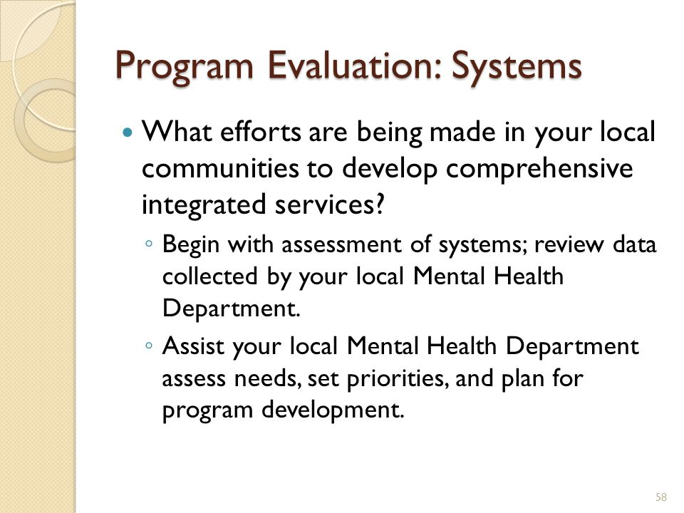 Program Evaluation: Systems