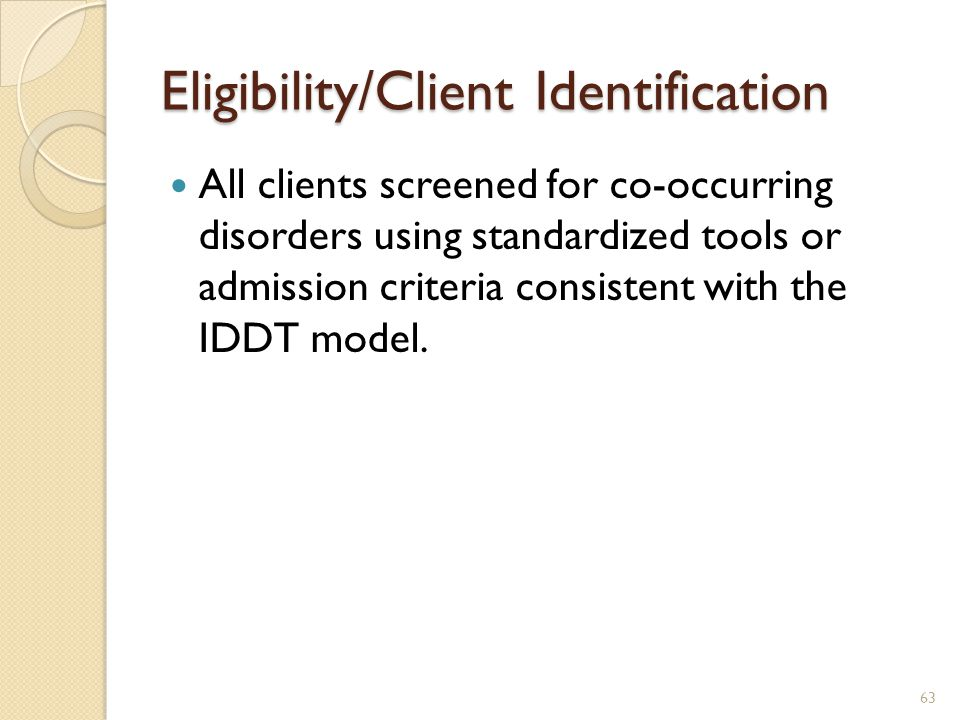 Eligibility/Client Identification