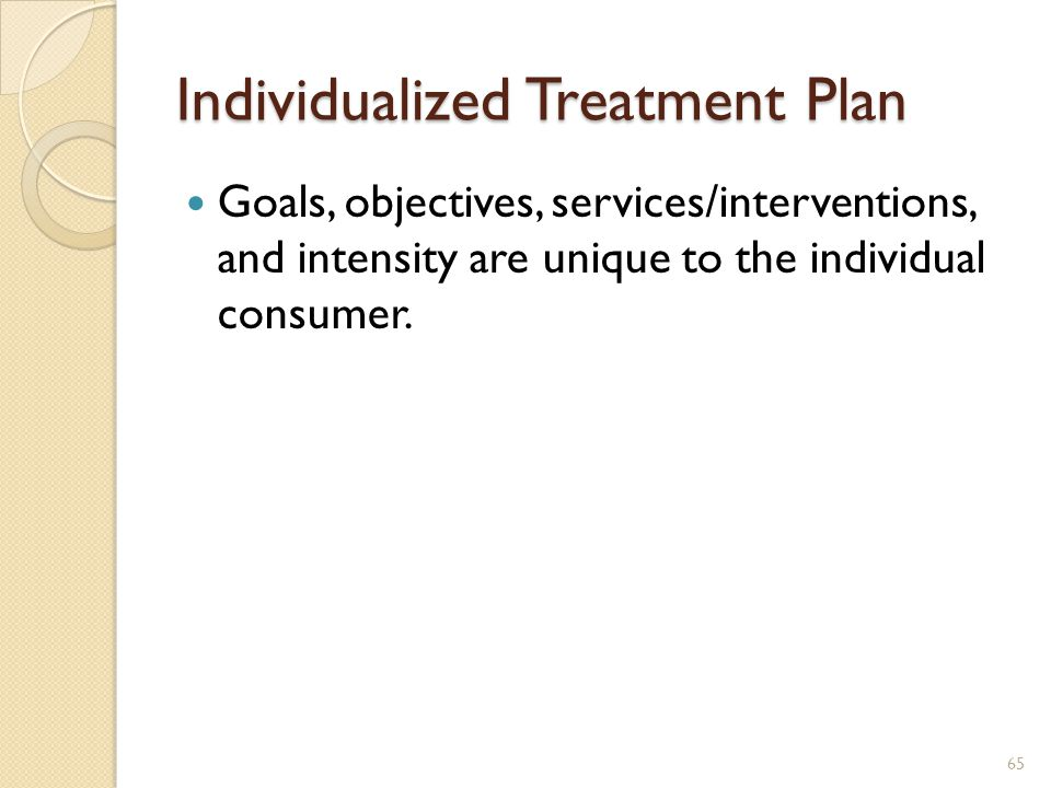 Individualized Treatment Plan