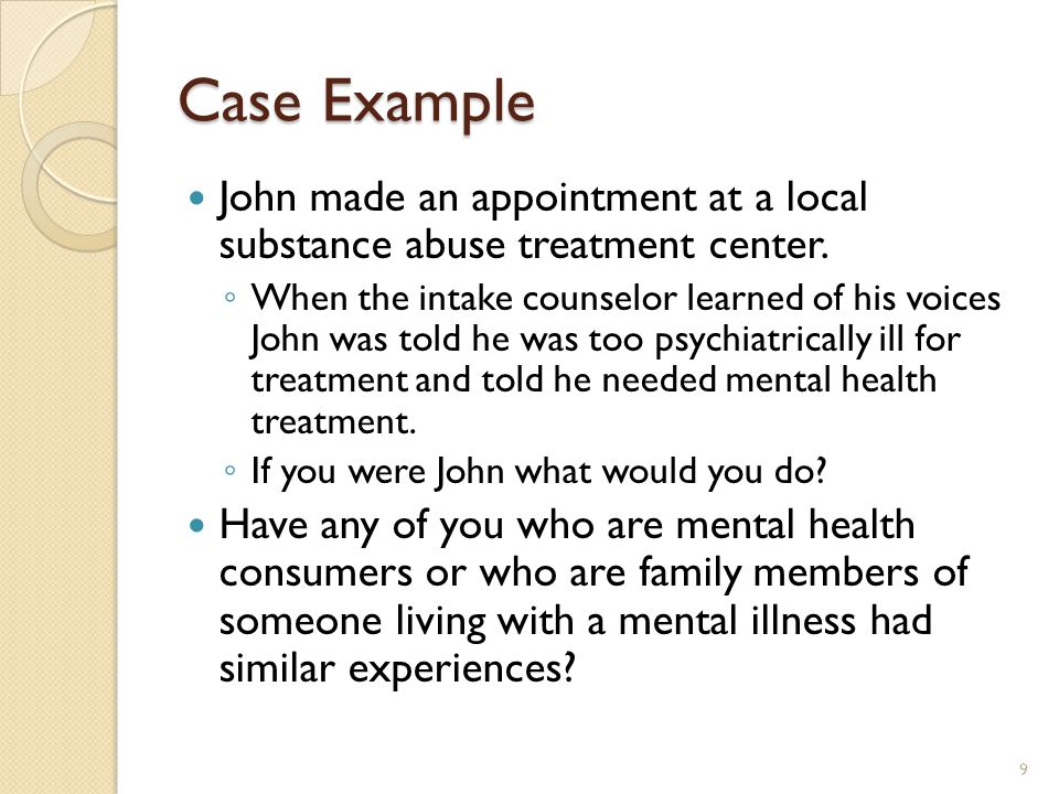 Case Example John made an appointment at a local substance abuse treatment center.