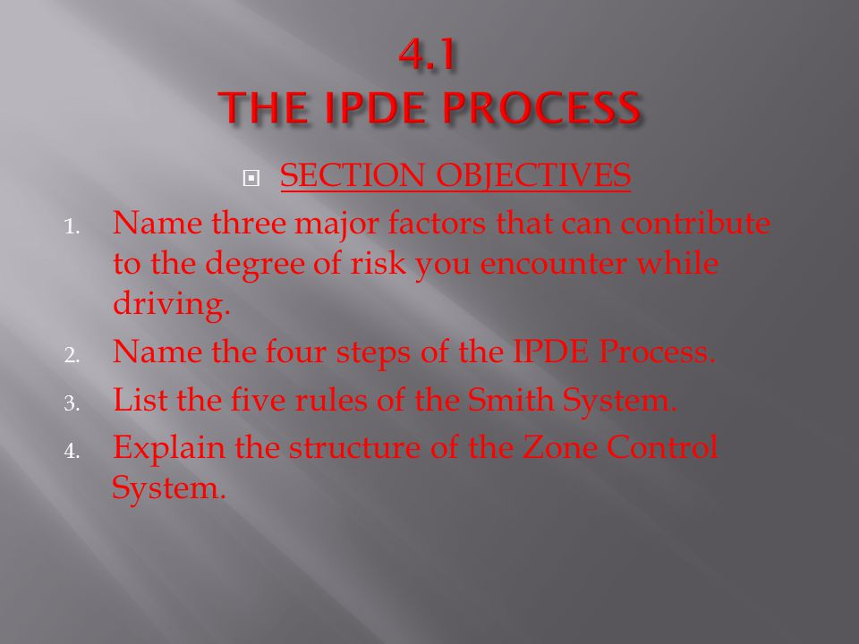 4.1 THE IPDE PROCESS SECTION OBJECTIVES
