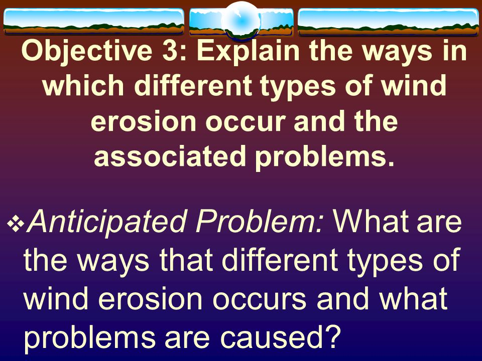 Objective 3: Explain the ways in which different types of wind erosion occur and the associated problems.