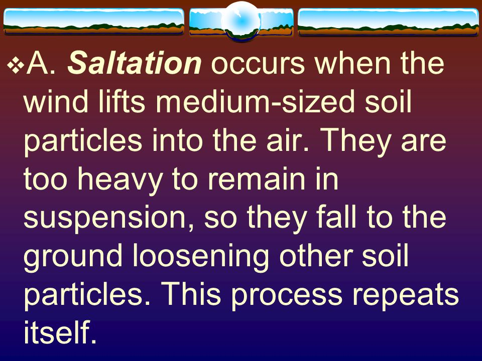 A. Saltation occurs when the wind lifts medium-sized soil particles into the air.
