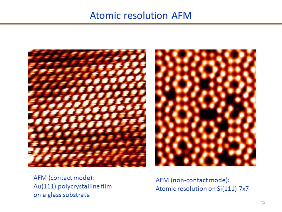 Atomic resolution AFM AFM (contact mode): AFM (non-contact mode):
