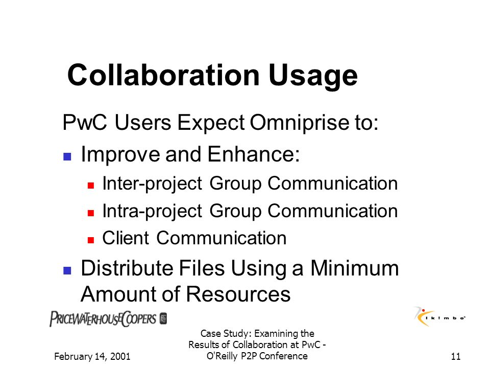 Collaboration Usage PwC Users Expect Omniprise to:
