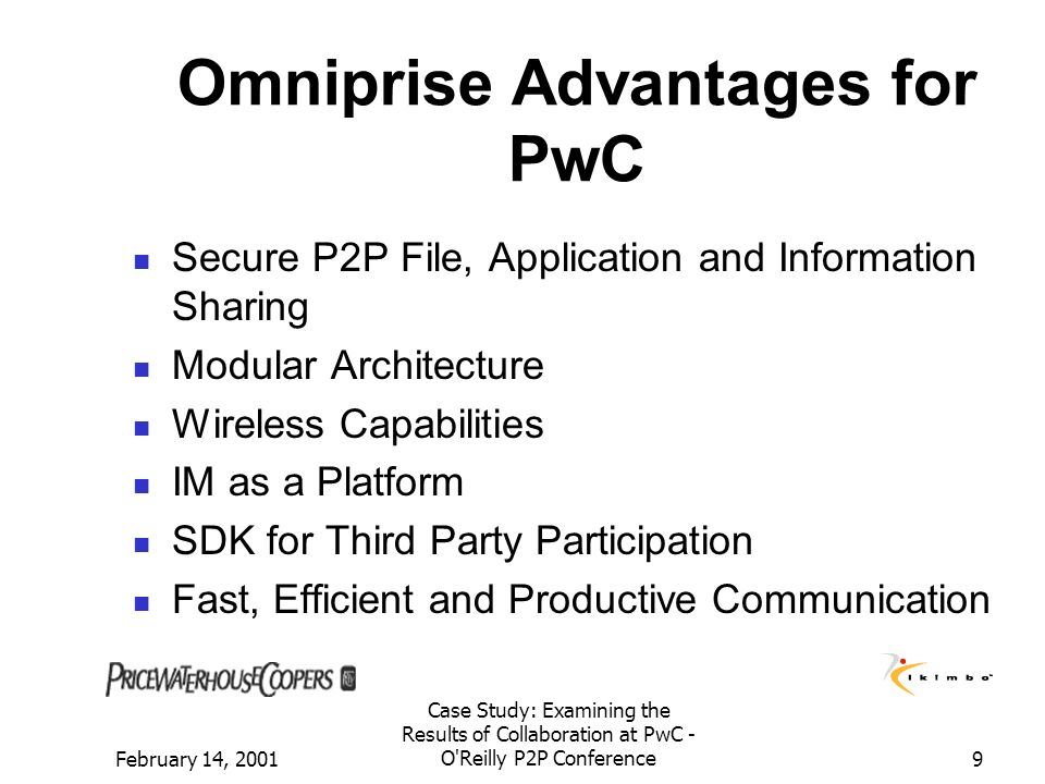 Omniprise Advantages for PwC