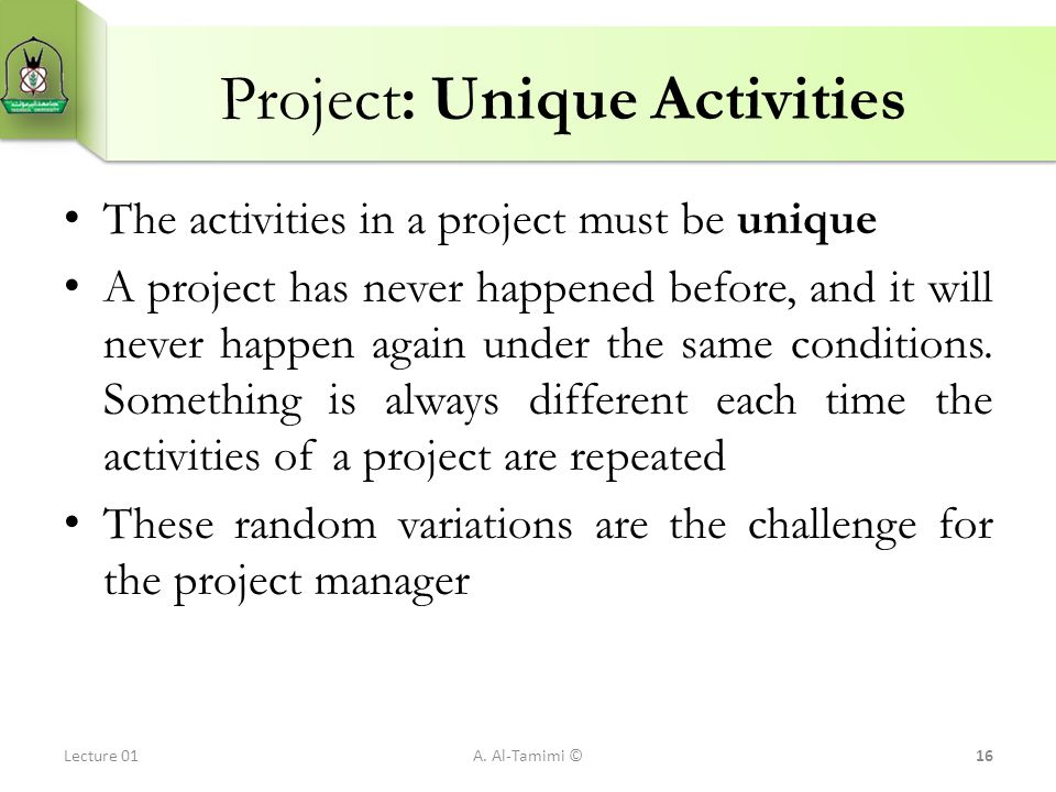 Project: Unique Activities