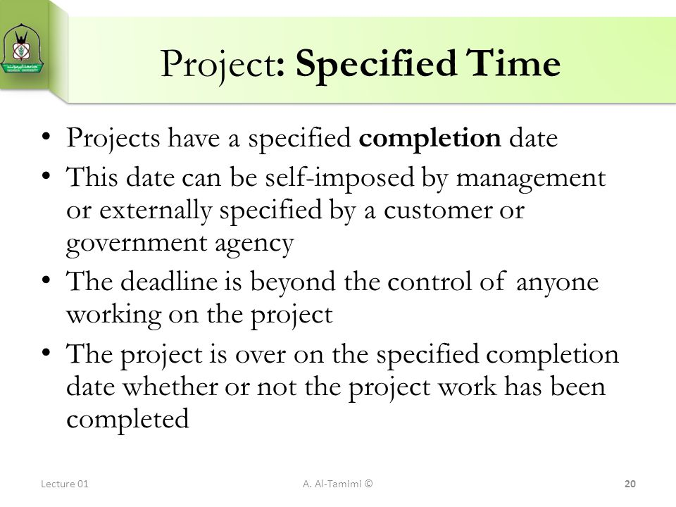 Project: Specified Time