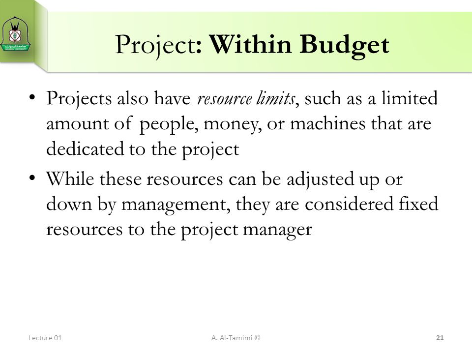 Project: Within Budget