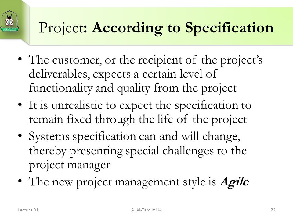 Project: According to Specification