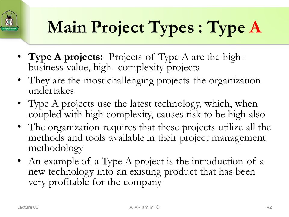 Main Project Types : Type A