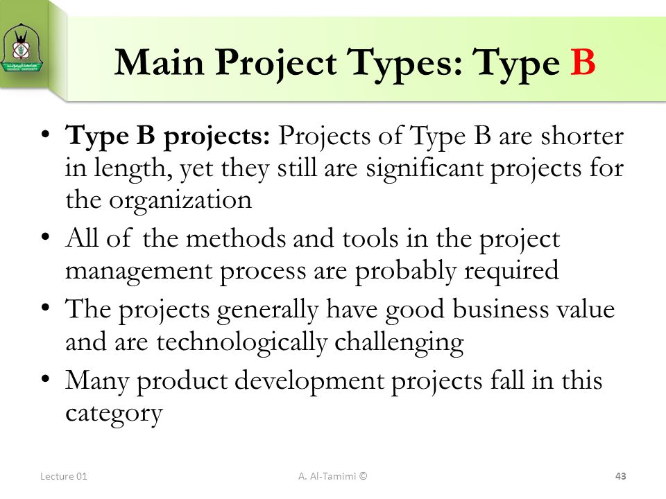 Main Project Types: Type B
