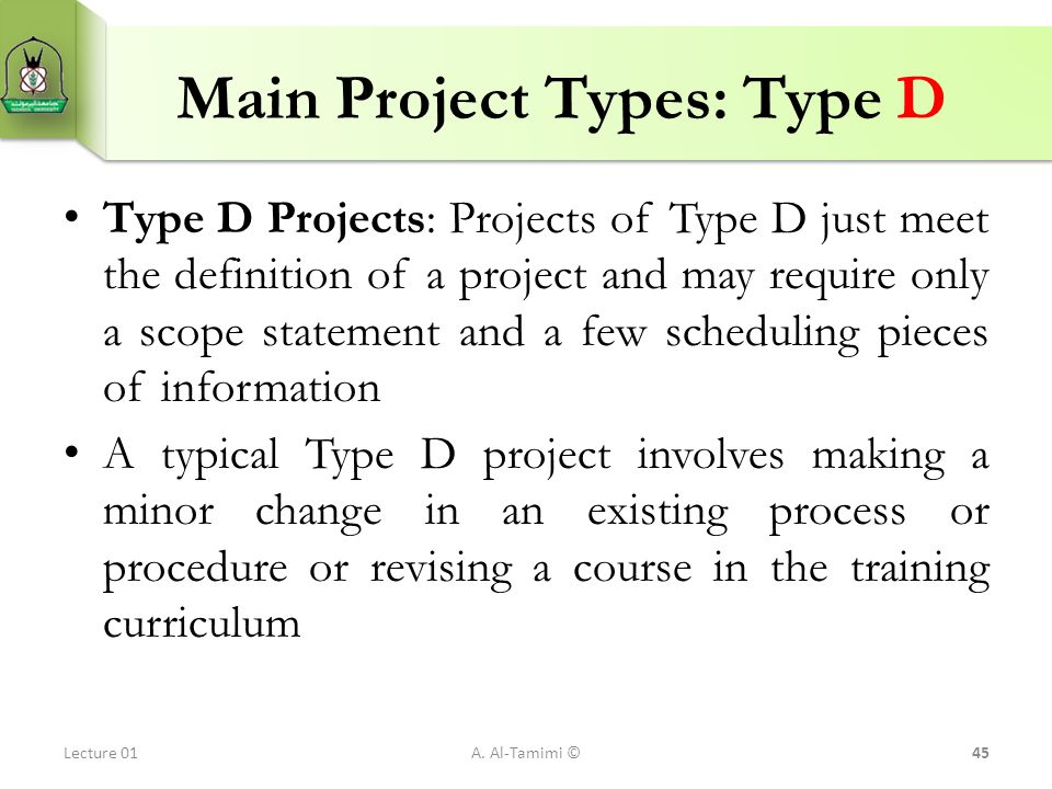 Main Project Types: Type D