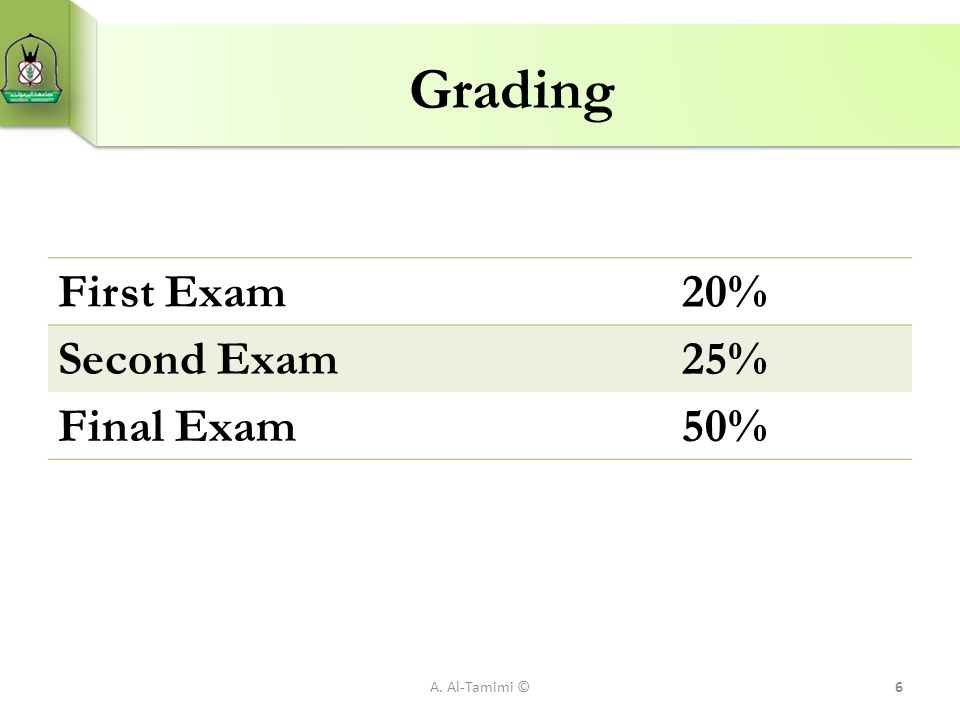 Grading First Exam 20% Second Exam 25% Final Exam 50% A. Al-Tamimi ©