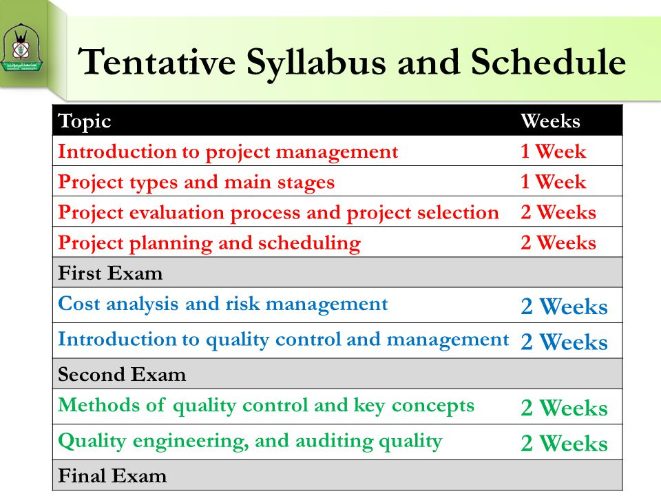 Tentative Syllabus and Schedule