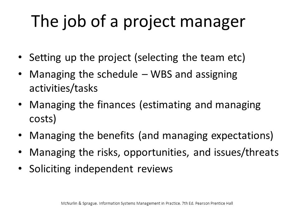 The job of a project manager
