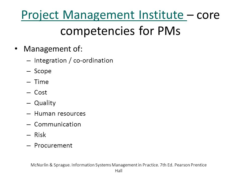 Project Management Institute – core competencies for PMs