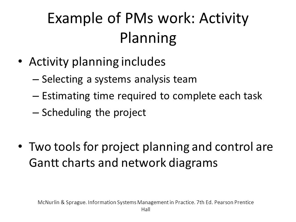 Example of PMs work: Activity Planning