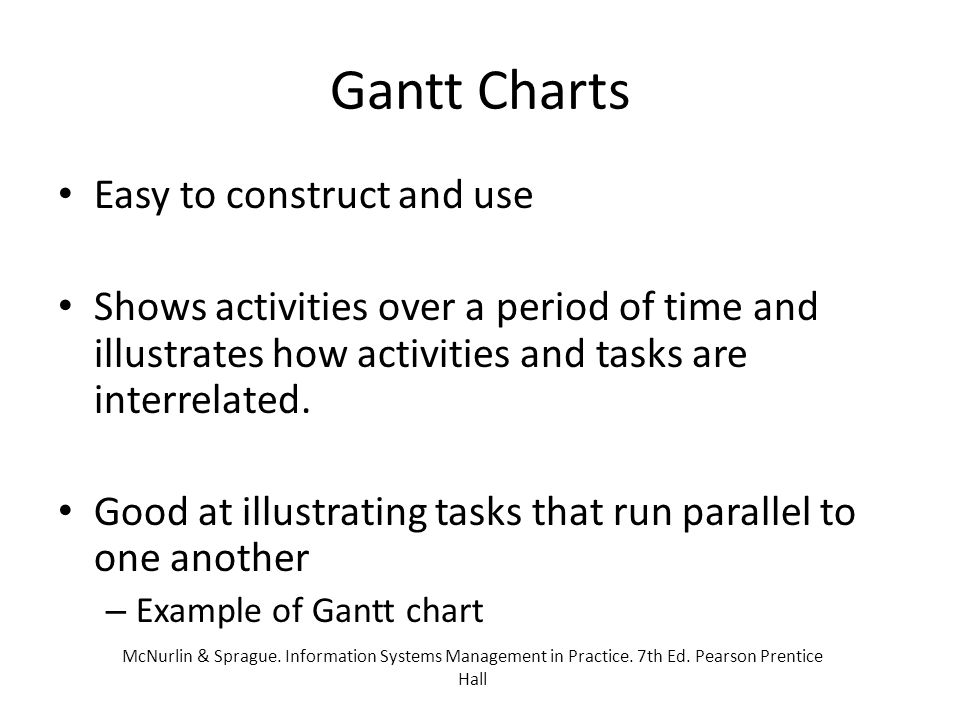 Gantt Charts Easy to construct and use