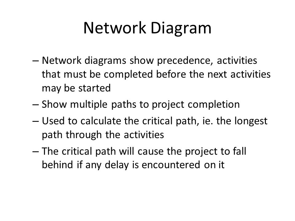 Network Diagram Network diagrams show precedence, activities that must be completed before the next activities may be started.