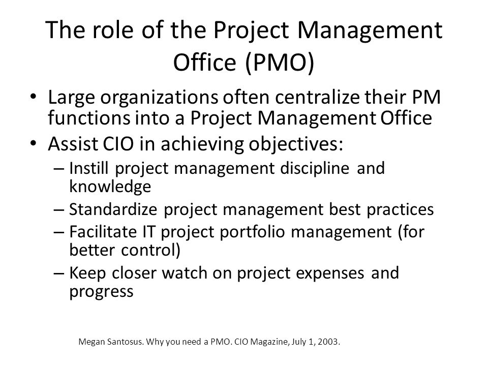 The role of the Project Management Office (PMO)