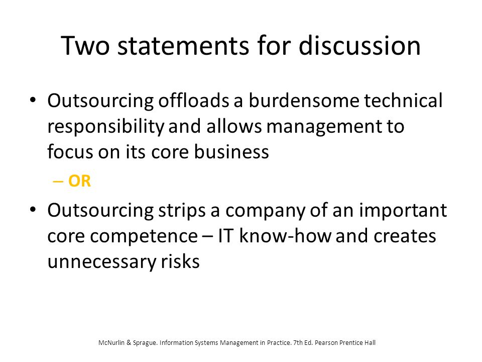 Two statements for discussion