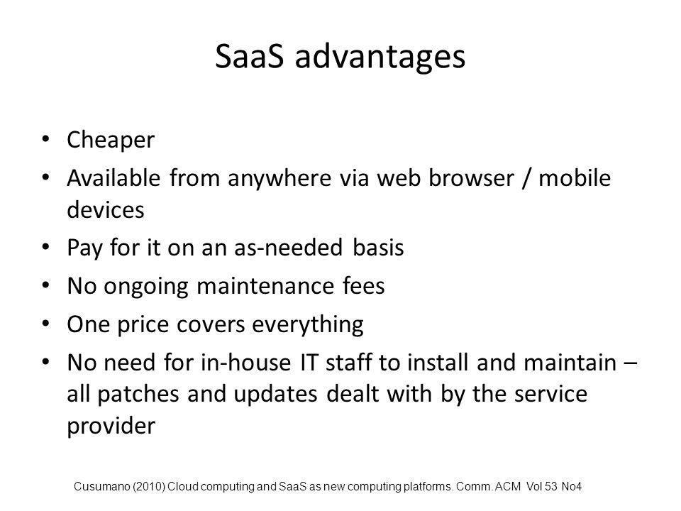 SaaS advantages Cheaper