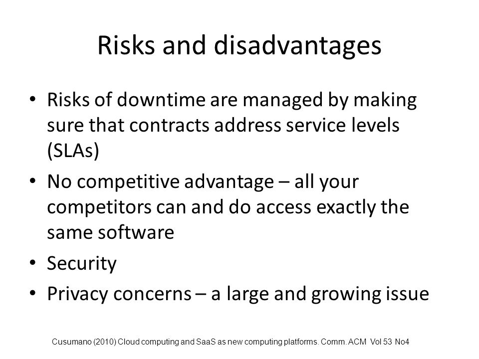 Risks and disadvantages