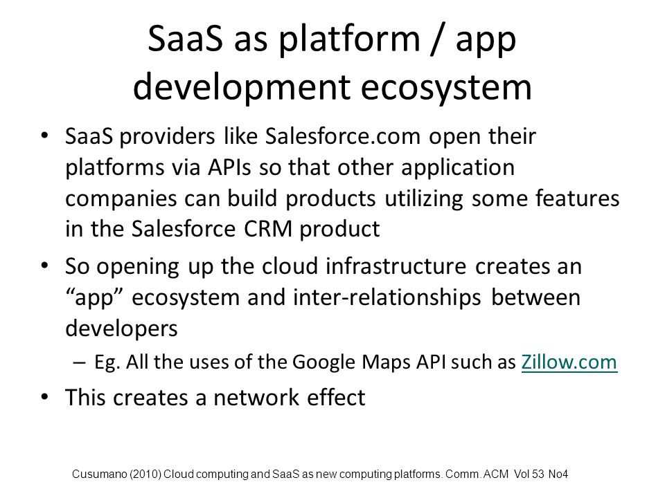 SaaS as platform / app development ecosystem
